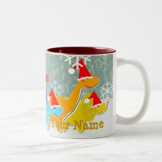 メリークリスマスの恐竜の一流のマグ ツートーンマグカップ