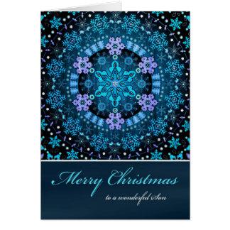 メリークリスマスの息子、Bohoの青い雪片 カード
