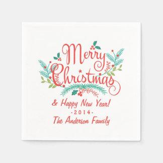 メリークリスマスの手描きのヒイラギおよび枝 スタンダードカクテルナプキン
