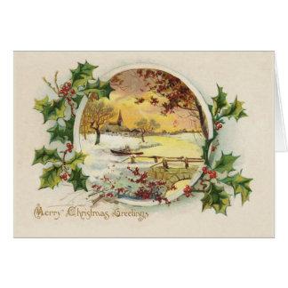メリークリスマスの挨拶のヴィンテージ カード