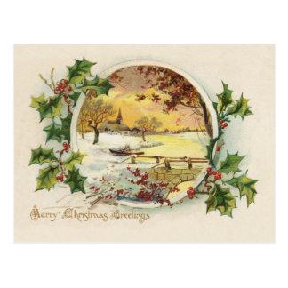メリークリスマスの挨拶のヴィンテージ ポストカード
