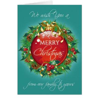 メリークリスマスの挨拶状のティール(緑がかった色)のリース カード