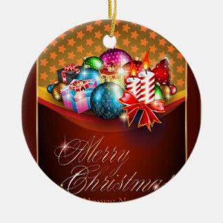 メリークリスマスの挨拶状 セラミックオーナメント
