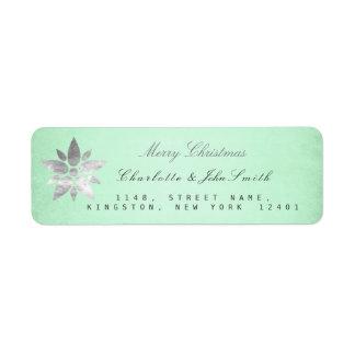 メリークリスマスの新年の銀のミントの住所 ラベル