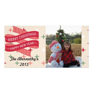 メリークリスマスの明けましておめでとうの休日の写真カード カード