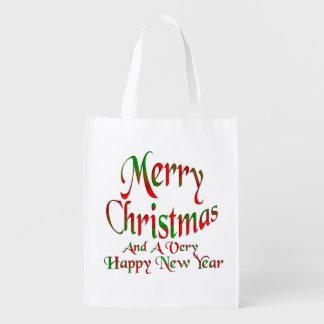 メリークリスマスの明けましておめでとうの買い物袋 エコバッグ