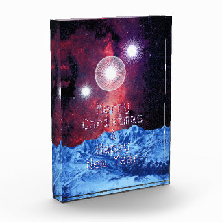 メリークリスマスの星の星雲山の宇宙の芸術 表彰盾