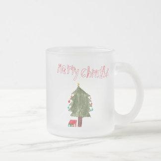 メリークリスマスの木のスケッチ及びプレゼント フロストグラスマグカップ