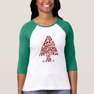 メリークリスマスの木の女性の長袖のTシャツ Tシャツ