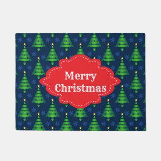メリークリスマスの木の歓迎 ドアマット