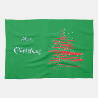 メリークリスマスの木の雪片 キッチンタオル