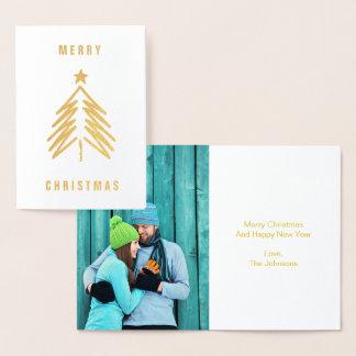 メリークリスマスの木ホイルの挨拶状 箔カード
