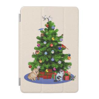 メリークリスマスの木、鳥、猫、犬 iPad MINIカバー