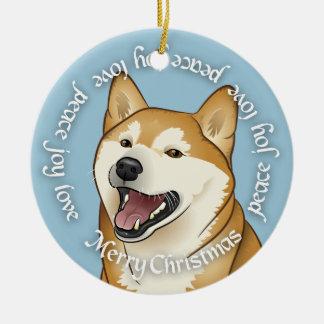 メリークリスマスの柴犬の平和、喜び愛オーナメント セラミックオーナメント
