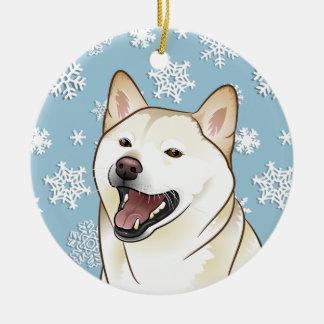 メリークリスマスの柴犬の雪片のオーナメント セラミックオーナメント
