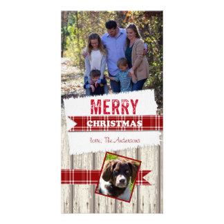 メリークリスマスの格子縞のリボン カード