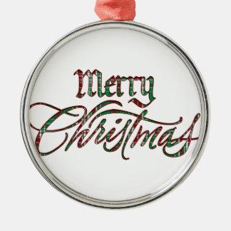 メリークリスマスの格子縞 メタルオーナメント