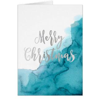 メリークリスマスの水彩画カード カード