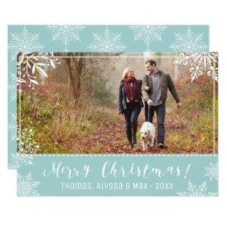 メリークリスマスの淡青色及び雪の名前入りな写真 カード