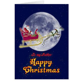 メリークリスマスの父、彼のそりのサンタ カード