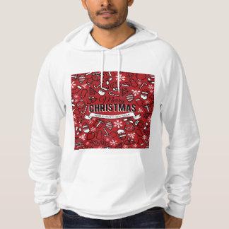 メリークリスマスの白くおよび赤いキャラクターパターン パーカ