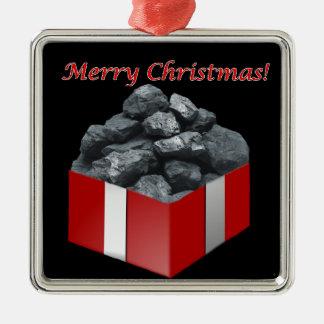 メリークリスマスの石炭の現在 メタルオーナメント