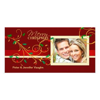 メリークリスマスの空想の休日の写真カード カード
