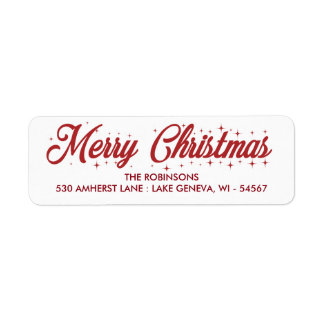 メリークリスマスの筆記体のラベル ラベル