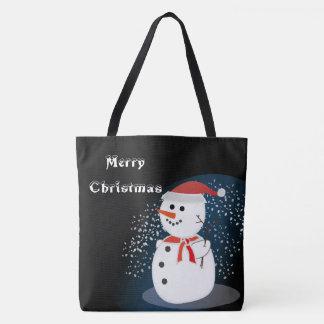メリークリスマスの素朴でかわいい雪だるまのトートバック トートバッグ