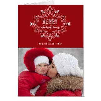 メリークリスマスの群葉のDecoの休日の写真カード カード