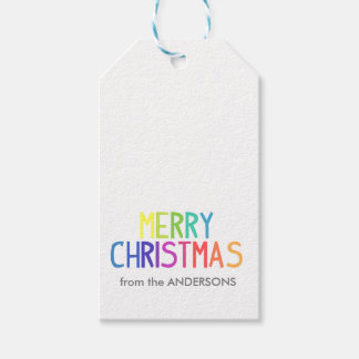 メリークリスマスの虹の原稿 ギフトタグ