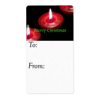 メリークリスマスの蝋燭のギフトのラベル ラベル