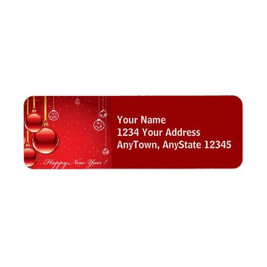 メリークリスマスの赤いオーナメント及びリボンのテンプレート 返信用宛名ラベル