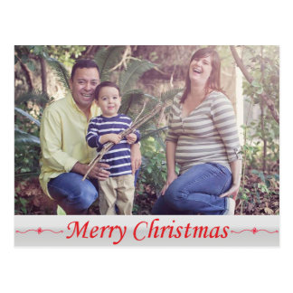 メリークリスマスの赤いレタリングの郵便はがき ポストカード