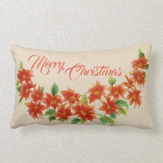 メリークリスマスの赤いヴィンテージのポインセチアの枕 ランバークッション