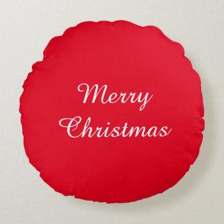 メリークリスマスの赤い円形の枕 ラウンドクッション