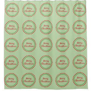 メリークリスマスの赤い緑の円の水玉模様パターン シャワーカーテン