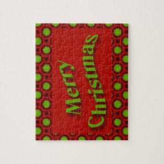 メリークリスマスの赤い緑の水玉模様 ジグソーパズル