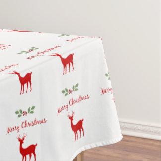 メリークリスマスの赤く白いトナカイのシカおよびヒイラギ テーブルクロス