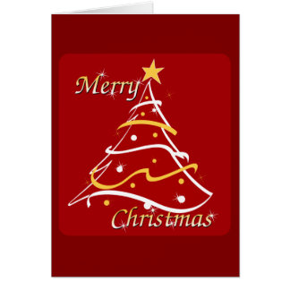 メリークリスマスの赤の木 カード
