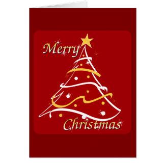 メリークリスマスの赤の木 グリーティングカード
