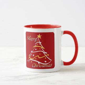 メリークリスマスの赤の木 マグカップ