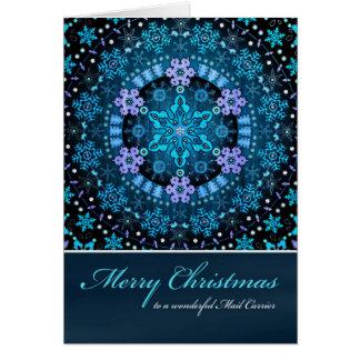 メリークリスマスの郵便配達員、Bohoの青い雪片 カード
