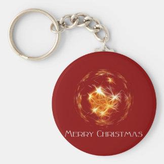 メリークリスマスの金球の絵 キーホルダー