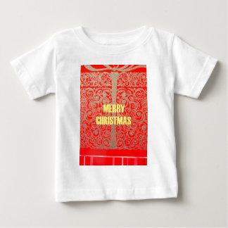 メリークリスマスの金赤い雪のハート ベビーTシャツ