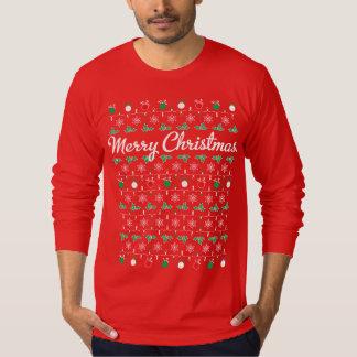 メリークリスマスの長袖の赤のTシャツ Tシャツ