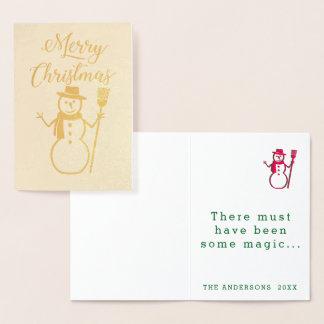 メリークリスマスの雪だるまのテンプレート 箔カード
