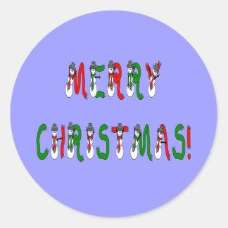 メリークリスマスの雪だるまのフォントのステッカー ラウンドシール