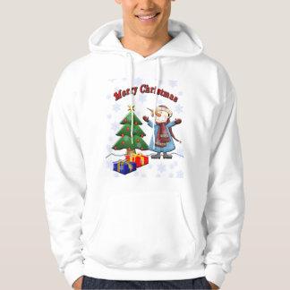 メリークリスマスの雪だるまのフード付きスウェットシャツ パーカ