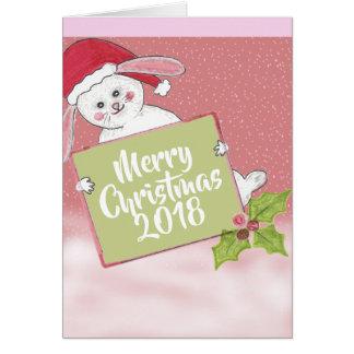 メリークリスマスの雪のウサギ カード